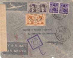 EGYPTE (Le Caire) Vers Bruxelles-ar Avion /bandelette De Censure Egyptienne + Cachet De Censure - Guerre 40-45