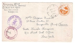 Entier Postal US Cachet Navy Mars 1945 Naval Censor + Cachet Marine Nationale Service à La Mer Poste Navale - Poststempel (Briefe)
