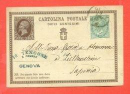 INTERI POSTALI- C1  -DA GENOVA PER  LICTHENSTEIN-  DESTINAZIONE ESTERA - 1861-78 Victor Emmanuel II.