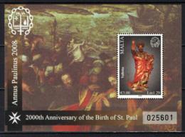 MALTA - 2008 - ANNIVERSARIO DELLA NASCITA DI SAN PAOLO - BIRTH OF ST. PAUL - 2000° ANNIVERSARIO - SOUVENIR SHEET - - Malta