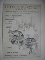 CYCLISME PUBLICITE  CHALETS DU CYCLE Paris Bois De Boulogne Extrait Document De 1896 Vélo Cycle Bicyclette - Ciclismo