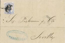 34428. Carta Entera BARCELONA 1873. Rombo De Punto. Sello AMADEO, Variedad 10 Cts Tipo II - 1872-73 Reino: Amadeo I