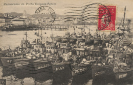 Ships At The Port Of  Ponta Delgada . Panorama  . P. Used To Cuba . Light Crease Top Left Corner - Açores