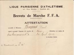 Brevet De Marche F.F.A.30 Avril 1922, Ligue Parisienne D'athétisme - Diplomas Y Calificaciones Escolares
