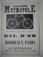 CYCLISME PUBLICITE Cycle LACATENE METROPOLE Extrait Document De 1896 Vélo Cycle Bicyclette - Ciclismo