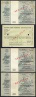 UPU: 3 SPECIMENS Of Travel Postal Vouchers (value Of 200, 500 And 100 Austrian Schillings) + Specimen Of Travel Postal C - Organizations