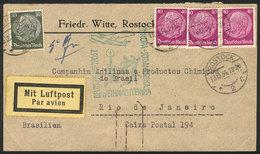 GERMANY: Cover Flown Via ZEPPELIN, Posted From Rostock To Rio De Janeiro On 13/DE/1934, Christmas Flight, VF! - Alemania