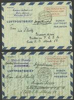 GERMANY - BERLIN: 2 Aerograms Of 60Pf. Sent To Argentina On 22/MAR And 7/JUN/1951, Interesting! - [5] Berlin