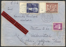 GERMANY - BERLIN: Express Cover Sent To Czechoslovakia On 14/JA/1955, Nice Postage! - [5] Berlin