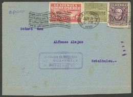 GUATEMALA: 5/JUN/1930 Guatemala - Retalhuleu, Inaugural Flight, With Special Blue Cachet, And Arrival Mark On Back Of 6/ - Guatemala