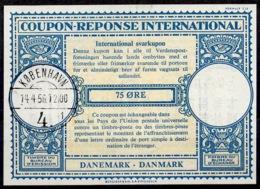 DANEMARK / DENMARK Lo16n 75 ÖRE International Reply Coupon Reponse Antwortschein IRC IAS O KOBENHAVN 14.4.56 - Enteros Postales
