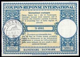 DANEMARK / DENMARK Lo16n 75 ÖRE International Reply Coupon Reponse Antwortschein IRC IAS O BRANDE 15.8.58 - Enteros Postales