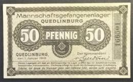 Billet 50 Pfennig LAGERGELD MONNAIE DE CAMP PRISONNIER DE GUERRE Kriegsgefangenenlager QUEDLINBURG 1916 - [10] Emissions Militaires
