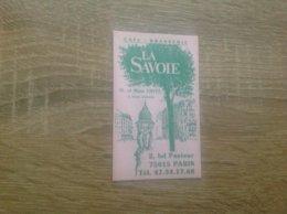 Carte De Visite De Café Brasserie  La Savoie    Paris 15eme - Cartes De Visite