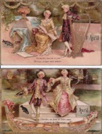 LOT DE 2 CPA 1er Premier Avril Carte Gauffrée. TRES BON ETAT - 1er Avril - Poisson D'avril