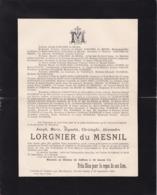 Château De CAFFIERS Hardinghen Joseph LORGNIER Du MESNIL 32 Ans 1902 PAS-de-Calais Familles FALLON CARTUYVELS - Todesanzeige