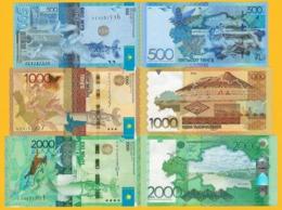 Kazakhstan Set 500, 1000, 2000 Tenge 2012-2017 UNC Banknotes - Kazakistan