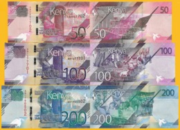 Kenya Set 50, 100, 200 Shillings P-new 2019 UNC Banknotes - Kenia