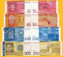 Kyrgyzstan Set 20, 50, 100, 200 Som 2016 UNC Banknotes - Kirghizistan