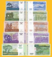 Madagascar Set 100, 200, 500, 1000, 2000 Ariary 2004-2007 UNC Banknotes - Madagascar