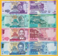 Malawi Set 20, 50, 100, 200 Kwacha 2017-2019 UNC Banknotes - Malawi