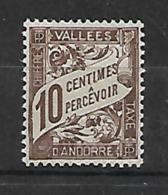 Andorre Français 1938/41 Yvert Taxe 18 Neuf** MNH (AA137) - Timbres-taxe
