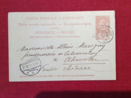 Liège Belgique Carte Postale Entier Postal Cachet 1900 Envoyé En Prusse Rhenanie Recto Verso - Entiers Postaux