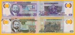 Mozambique Set 20 & 50 Meticais 2011-2017 UNC Banknotes - Mozambique