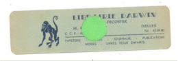 """Marque-pages Publicitaire  -  """" LIBRAIRIE DARWIN """"  L. Decoster à IXELLES   (b260/4) - Marque-Pages"""