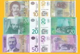 Serbia Set 10, 20, 50 Dinara 2013-2014 UNC Banknotes - Servië