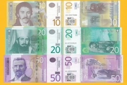 Serbia Set 10, 20, 50 Dinara 2013-2014 UNC Banknotes - Serbia