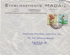 CONGO BELGE : 1957 - Lettre Commerciale, Par Avion, Pour La France - Fleurs - Congo Belge