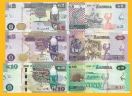 Zambia Set 2, 5, 10 Kwacha 2018 UNC Banknotes - Zambia