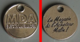 Jeton De Caddie Métal  Magasin MDA Electroménager - Double Face - Jetons De Caddies