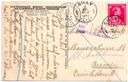 Griffe RETOUR NON ADMIS / TERUG NIET TOEGELATEN Sur CV De Gilly Vers L'Allemagne (1941) - Weltkrieg 1939-45