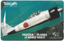New Zealand - Dealer Cards - Fighter Planes '95 - Mitsubushi A6M5-52 Zero, 1995, 5$, 7.250ex, Used - Neuseeland