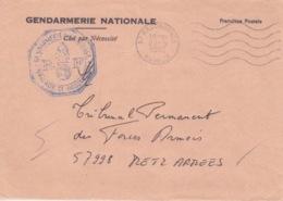 Lettre à Entête En Franchise De La Brigade De Gendarmerie De Hagondange (bleu), Obl. Flamme Hagondange Le 27/5/82 - Marcofilie (Brieven)