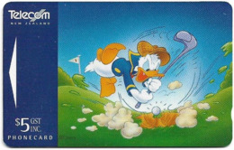 New Zealand - Advertising Cards - Donald Duck I - Playing Golf, 1995, 5$, 11.850ex, Used - Neuseeland