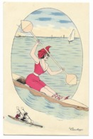 Xavier SAGER-Canotage... Femme En Canoé  1913 - Sager, Xavier