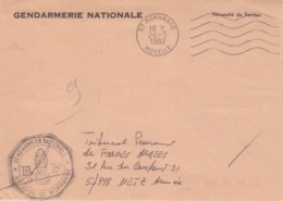 Lettre à Entête En Franchise De La Brigade De Gendarmerie De Morhange, Obl. Flamme Morhange Le 26/5/82 - Postmark Collection (Covers)