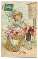 """Carte Gaufrée """"Bonne Année""""  Enfant Et Panier De Fleurs...1908 - New Year"""