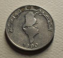 1990 - Tunisie - Tunisia - 1/2 DINAR, F.A.O., Tunisia Map, KM 318 - Tunesië