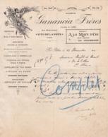 ALGERIE SIDI-BEL-ABBES COURRIER 1912 Mercerie Modes A LA MAIN D' OR  GANANCIA Frères  - X38 - Autres
