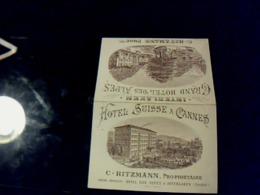 Vieux Papier Carte D Hôtel Double Hôtels Suisse A Cannes & Grand Hôtel Des Alpes C;Ritzmann à Interlaken ( Suisse ) - Cartoncini Da Visita