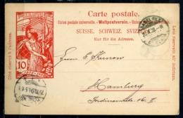 """Schweiz 1900 GS Weltpostverein 10 Rappen,(rot)  Mi.Nr.??? Mit.Tstp.""""Basel """" Nach Hamburg ,Germany""""1 GS - U.P.U."""