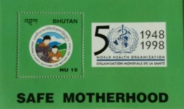 121.BHUTAN 1998 STAMP M/S SAFE MOTHERHOOD, WORLD HEALTH ORGANISATION (WHO) . MNH - Bhutan
