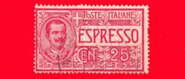 ITALIA - Usato -  Espresso - 1903 - Espresso Tipo Floreale - Effigie Di Vittorio Emanuele III Entro Un Ovale - 25 - 1900-44 Victor Emmanuel III.