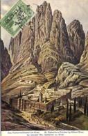 Illustrateur Lz Couvent Ste Cathrerine Au Sinai  + Beau Timbre Postes Ottmanes 10 Paras Surchargé PARAS 60 - Israele