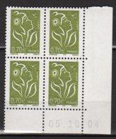 France Yvert N° 3736 Coin Daté Du 05 10 04 Marianne De La Mouche Lot 24-169 - Ecken (Datum)