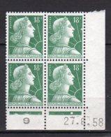 France Yvert N° 1011A Coin Daté Du 27.6.58 Marianne De Muller Lot 24-173 - Ecken (Datum)